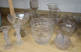 A quantity of cut glass vases and bowls, etc.