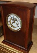 A Victorian oak bracket clock