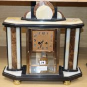 A French Art Deco marble four glass mantel clock height 44cm