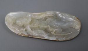 A white jade boulder carving