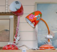 Two French anglepoise table lamps, in the 1960s style