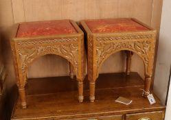 A pair of Moorish leather top stools