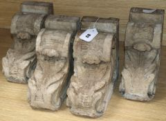 Two pairs of painted wooden corbel / brackets height 24cm