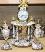 A Louis XVI design ormolu and marble clock garniture clock height 48cm
