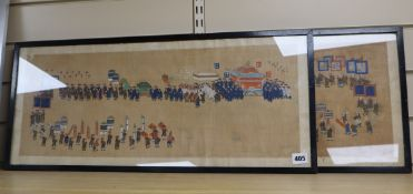 Chinese School c.1910, pair of gouache on silk, Study of a procession, 25 x 64cm