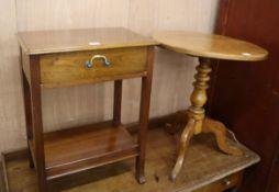 A mahogany tripod table and a side table
