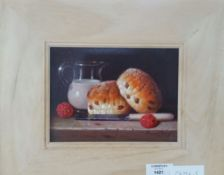 Raymond Campbell, oil on panel, 'Raspberries with cream and scones', signed, 20cms x15cms