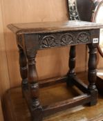 A 17th century and later oak joint stool W.45cm