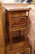 A 19th century French marble top bedside cabinet H.82cm