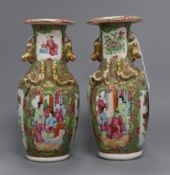 A pair of late 19th century Chinese famille rose vases