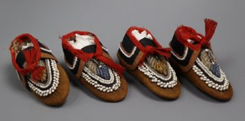 Two pairs of North American Indian childrens shoes