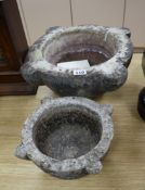 Two Victorian marble mortars largest diameter 38cm