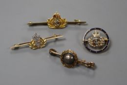 Four military sweetheart brooches, various, comprising a Royal Marine and three Naval examples