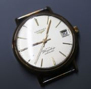 A gentleman's 9ct gold Longines Flagship automatic wrist watch, with case back inscription (no