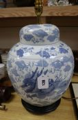 A Chinese large blue and white ginger jar and cover table lamp