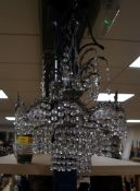 A silvered metal and cut glass electrolier height 56cm