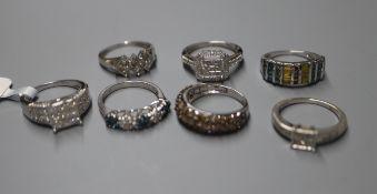 Six 9ct gem-set rings, various and a similar 10K ring