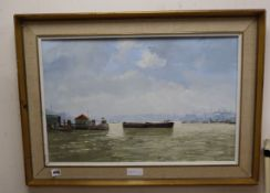 Roy Perry (1935-1993), oil on board, Thames at Rotherhithe, signed, 40 x 60cm