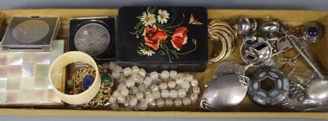 Mixed jewellery including silver brooch, Scottish hardstone brooch, costume etc.