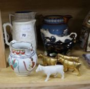 Four Victorian moulded jugs, two cow creamers etc.