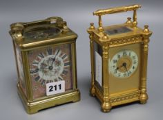 An early 20th century French lacquered brass and porcelain repeating carriage clock, height 11.5cm