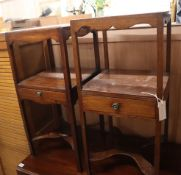 A near pair of George III mahogany two tier washstands W.35cm