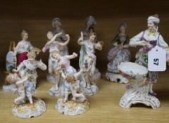 A group of nine Continental porcelain figures tallest 21cm