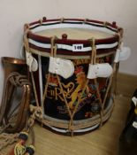 A Royal Mariner's military side drum c.1960 brass shelled and rope tensioned with a military