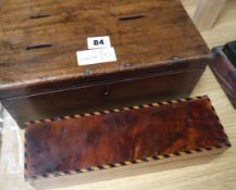 A Victorian mahogany money box and an inlaid box and cover money box 29cm