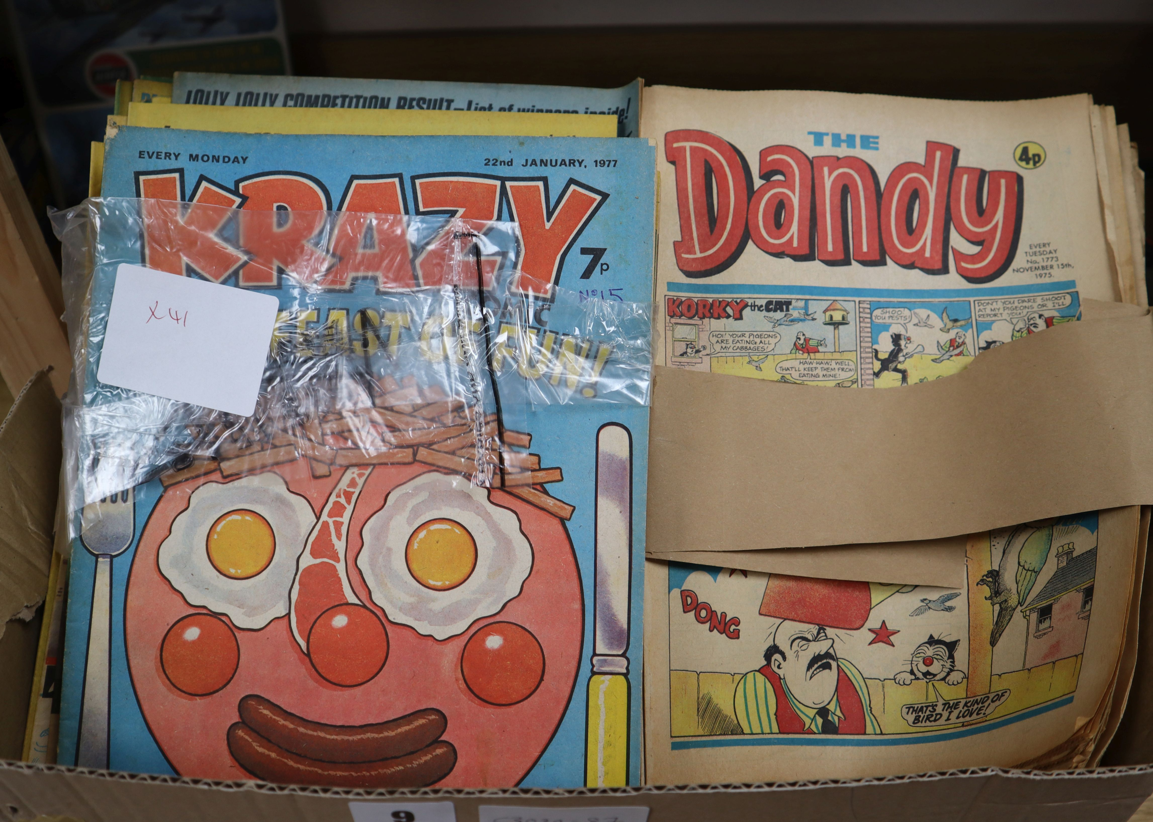 Lot 9 - A collection of vintage Dandy, Krazy and other comics, 1970s and Dinosaur comics and magazines see