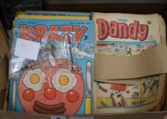 A collection of vintage Dandy, Krazy and other comics, 1970s and Dinosaur comics and magazines see