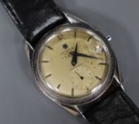 A gentleman's stainless steel Universal Monodatic manual wind wrist watch, retailed by J.W.