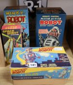 A Rocket USA tinplate R-1 battery-operated robot (bare metal) and four other modern robots,