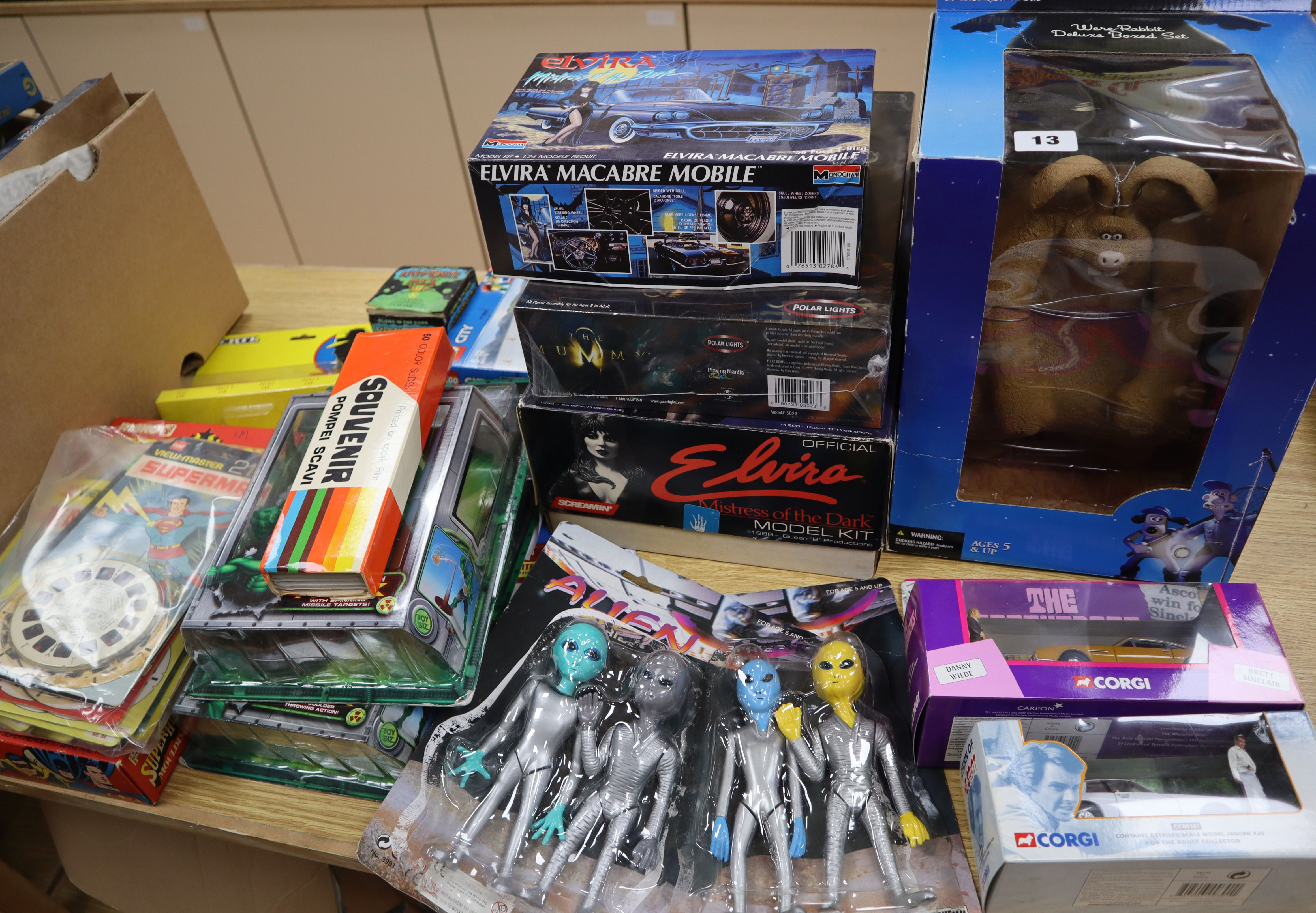 Lot 13 - Marvel, DC and TV action figures and scale models, including Hulk, Elvira, The Mummy, Wallace &