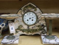 A French Art Deco marble clock garniture