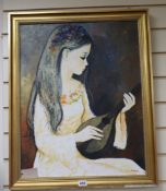 Luziana, oil on canvas, Girl playing a mandolin, signed, 60 x 47cm