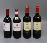 Two bottles of Bordeaux Fontagnac, red and two Bordeaux Cotes de Blanc (Le Parvis de la Chapelle/
