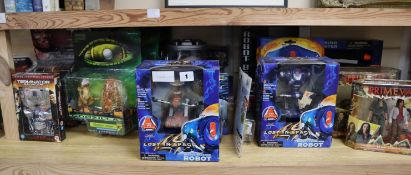 Sci-Fi movie and TV action figures and scale models, including Lost in Space, Terminator 2,