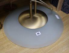 A 1950's opaque glass circular ceiling shade diameter 50cm