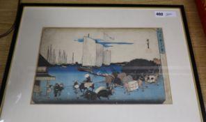 A Japanese woodblock print after Utagawa Hiroshige, 'Takanawa no yukei/Toto Meisho', circa 1833-