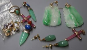 A pair of 14K gold and jade drop earrings, a pair of 9K gold and carved jade earrings and