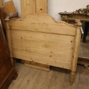A 19th century Continental pine single bed frame W.100cm