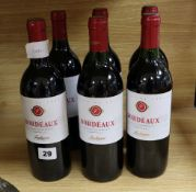 Six bottles of Bordeaux Fontagnac, 17, red