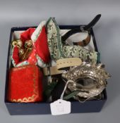 A Cartier gilt tooled red leather jewellery box, a pair of white metal bowls and mixed costume