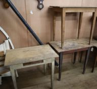 Three rectangular provincial pine side tables largest W.80cm