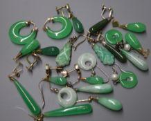 Two pairs of 14K yellow metal-mounted jade earrings, a 9ct pair and eight pairs of jade earrings,