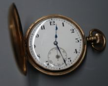 A 9ct. gold keyless hunter pocket watch, with Arabic dial and subsidiary seconds.