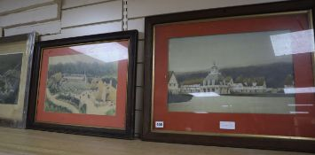 Cyril Farey (?), three architectural prints for a country estate, 30 x 44cm