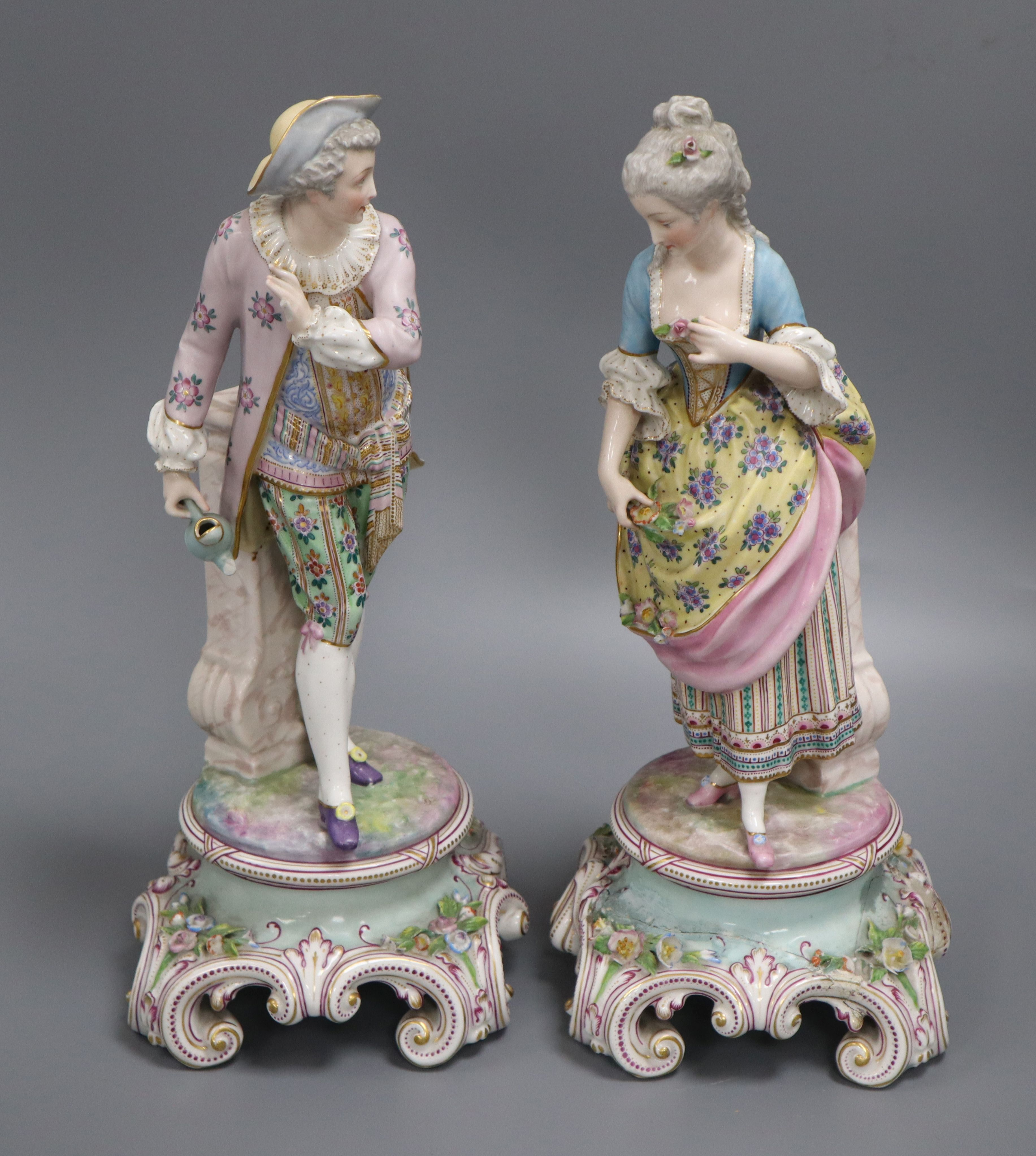 Lot 37 - A pair of Continental porcelain figures height 34cm