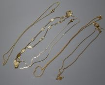 Two 18ct chains, two 14ct fine chains and one yellow metal chain(a.f.).